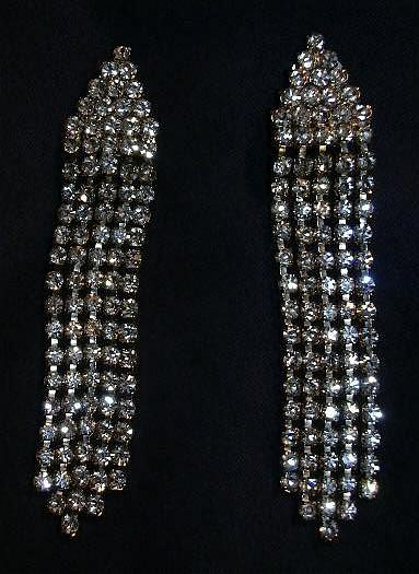 Vintage Rhinestone Clip Earrings Flapper Style Elegant Designer Costume Jewelry Evening