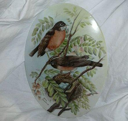 Hand Painted Robin Song Birds & Nest On Porcelain Oval Cameo Signed Art