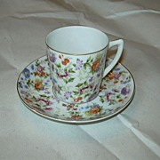 Occupied Japan Demitasse Cup & Saucer SGK Flowers Fine Dining Tea China