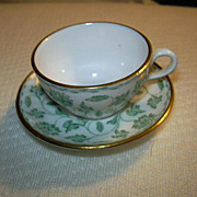Spode Bone China  Porcelain Miniature Cup Saucer Set Colonel Green