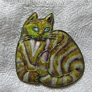 Enamel Cat Pendant Charm Old Cheshire Cat Costume Jewelry