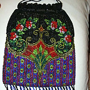 Vintage Beaded Bag Art Deco Design & Crochet