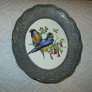Metal Framed Birds Parrots On Porcelain