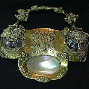 Antique Inkwell brass Mother Of Pearl & Glass