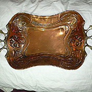English Art Nouveau 19th C Copper & Brass  Tray Flowers & Vines