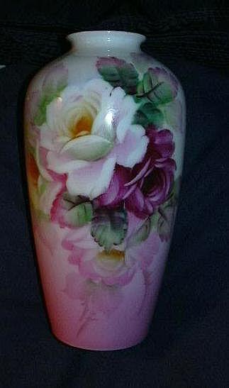Hand Painted K T Japan Vase Fabulous Flowers Fine China