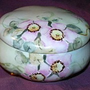 Artist Signed Hand Painted Covered Dish Or  Powder Jar Fine Ceramic China Art