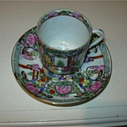 Famille Rose Demitasse Cup & Saucer Set