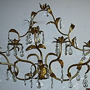 Italian Florentine Gold Gilt Elegant Large Wall Sconce Lighting With Prisms