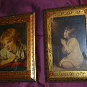 Italian Florentine Pair Plaques Praying  Infant Samuel Child Vintage Art