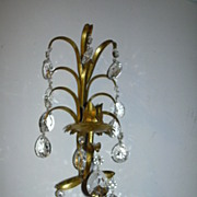 Italian Florentine Gold Gilt Sconce Lighting With Prisms