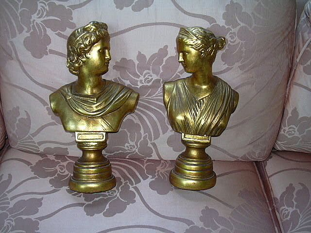 Pair Gold Gilt Busts Statues Italian Grecian Style Decorative Arts