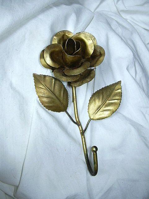 Gold Painted Florentine Rose & Leaf Wall Hook