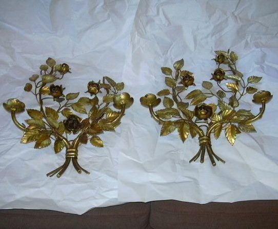 Pair Italian Florentine Gold Gilt Wall Sconces Flowers Candleholders