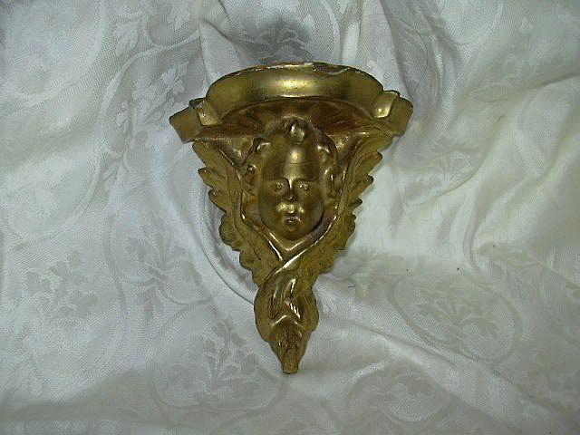 Tiny Gold Gilt Angel Wall Shelf Italian Florentine