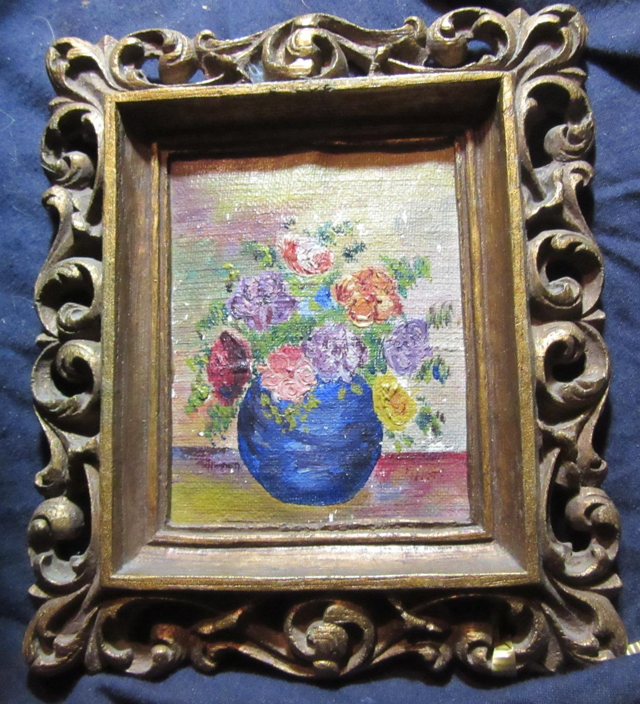 Miniature Painting Vase With Flowers Original Art