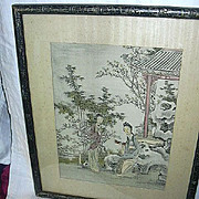 Old Japanese Oriental Print Beautiful Ladies In Garden