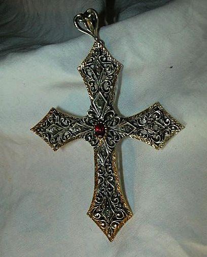 Antique 800 Silver Filigree French Cross Ruby Diamonds & Gold Fine Catholic Orthodox Christian Religious Metalwork