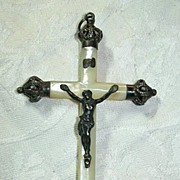 French MOP Mother Of Pearl & Silver Antique Crucifix Cross