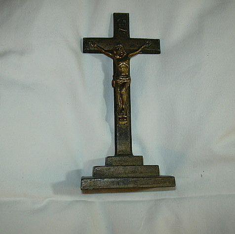 Old Metal Standing Crucifix