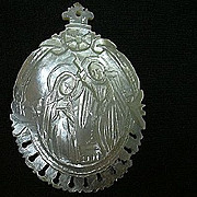 Carved Mother Of Pearl Virgin Mary Medal Medallion
