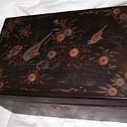 Antique Box Oriental Lacquer Ware Birds Flowers Fine Lacquerware Art