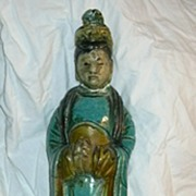 Old Chinese Roof Tile Qwan Yin Buddha Woman Glazed Pottery