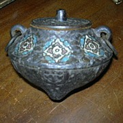 Old Heavy Iron Incense Burner Pot Enamel Fine Oriental Chinese Metalwork