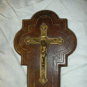 French Crucifix & Holy Water Font Leather & Porcelain