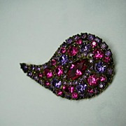 Rare Paisley Brooch Pink Violet Stones Fine Vintage Costume Jewelry Pins