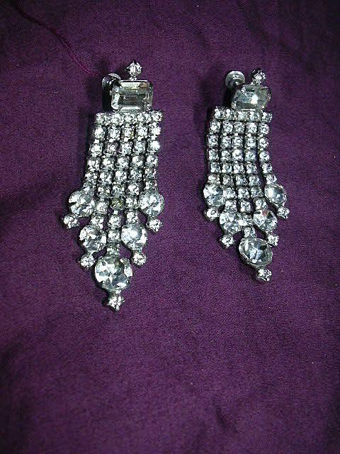 Rhinestone Screw Back Earrings With Elegant Drape