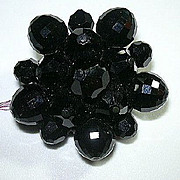Black Facet Glass Beaded Brooch