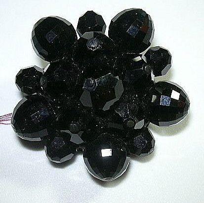 Black Facet Glass Beaded Brooch