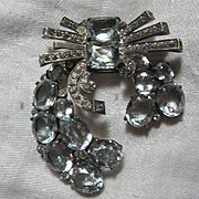 Eisenberg Original Sterling Silver Rhinestone Fur Clip With Icy Blue