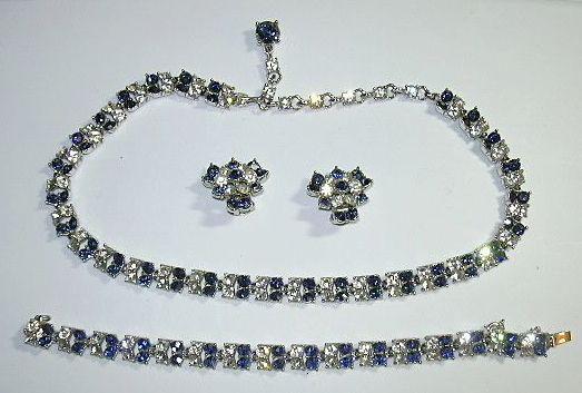 Bogoff Sapphire Rhinestone & Clear Parure Necklace Bracelet & Earring Set