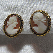 Gold Filled Carved Shell Cameo Earrings