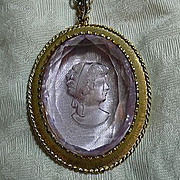 Pink Violet Glass Intaglio Cameo  Pendant Necklace