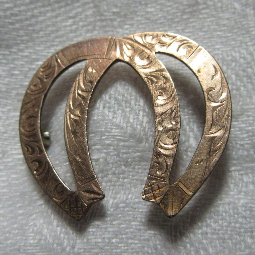 Gold Filled Double Horseshoe Good Luck Victorian Pin