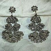 Miriam Haskell Rhinestone & Pearls Dramatic Draped Earrings