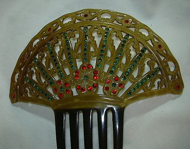 Old Celluloid Hair Comb Faux Jewels