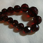 Faceted Cherry Amber Beads Choker Necklace