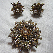 Miriam Haskell Signed Brooch & Earring Set Baroque Faux Pearls