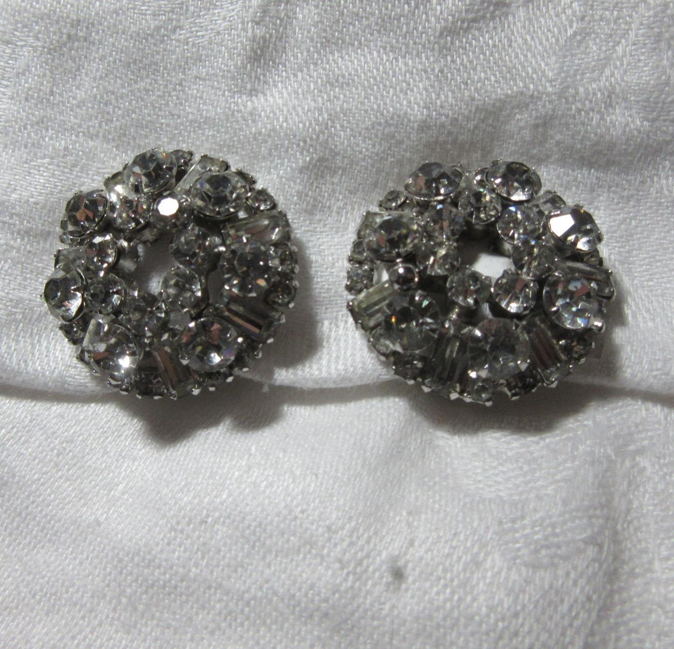 Sparkly E Quality Rhinestone Clip Earrings