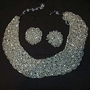 Silver Glass Beads Collar Necklace & Earring Set