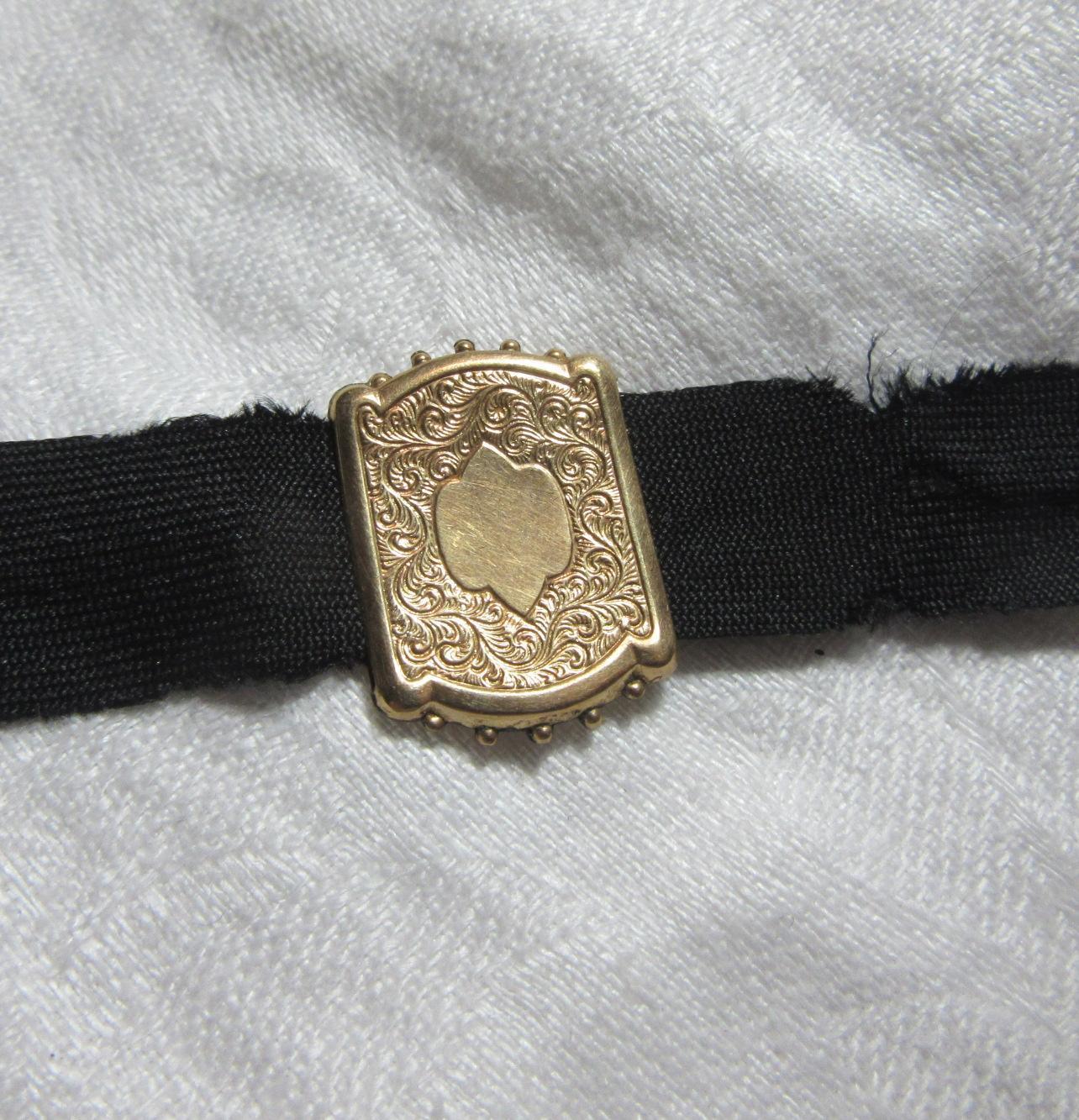 Antique Victorian Gold Slide On Ribbon