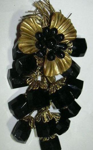 Gold Tone & Black Flower Spray Unusual Brooch