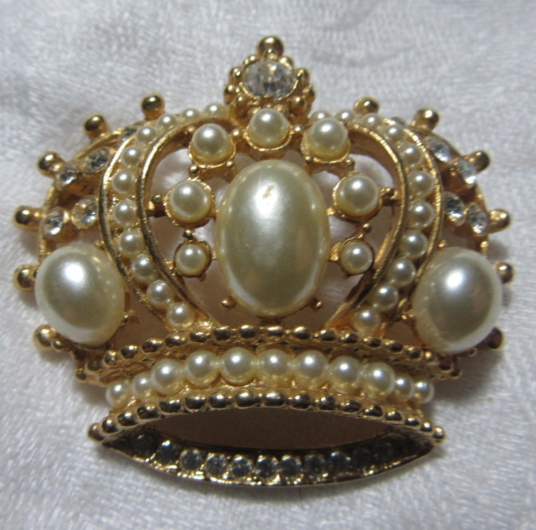Vintage Crown Pin Faux Pearls