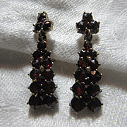 Garnet Screw Back Earrings 9K