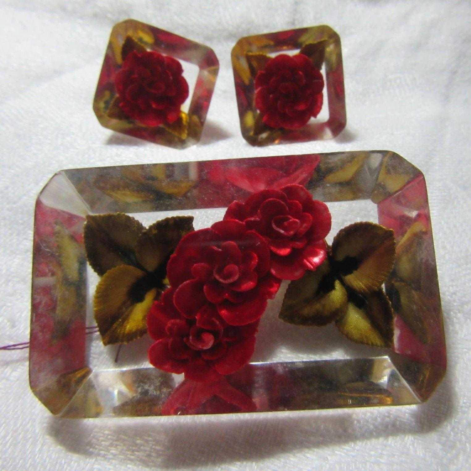 Old Roses In Lucite Pin Earring Set