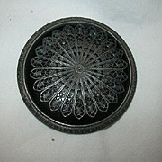 Set Large Impressive Old Black Buttons Filigree Overlay